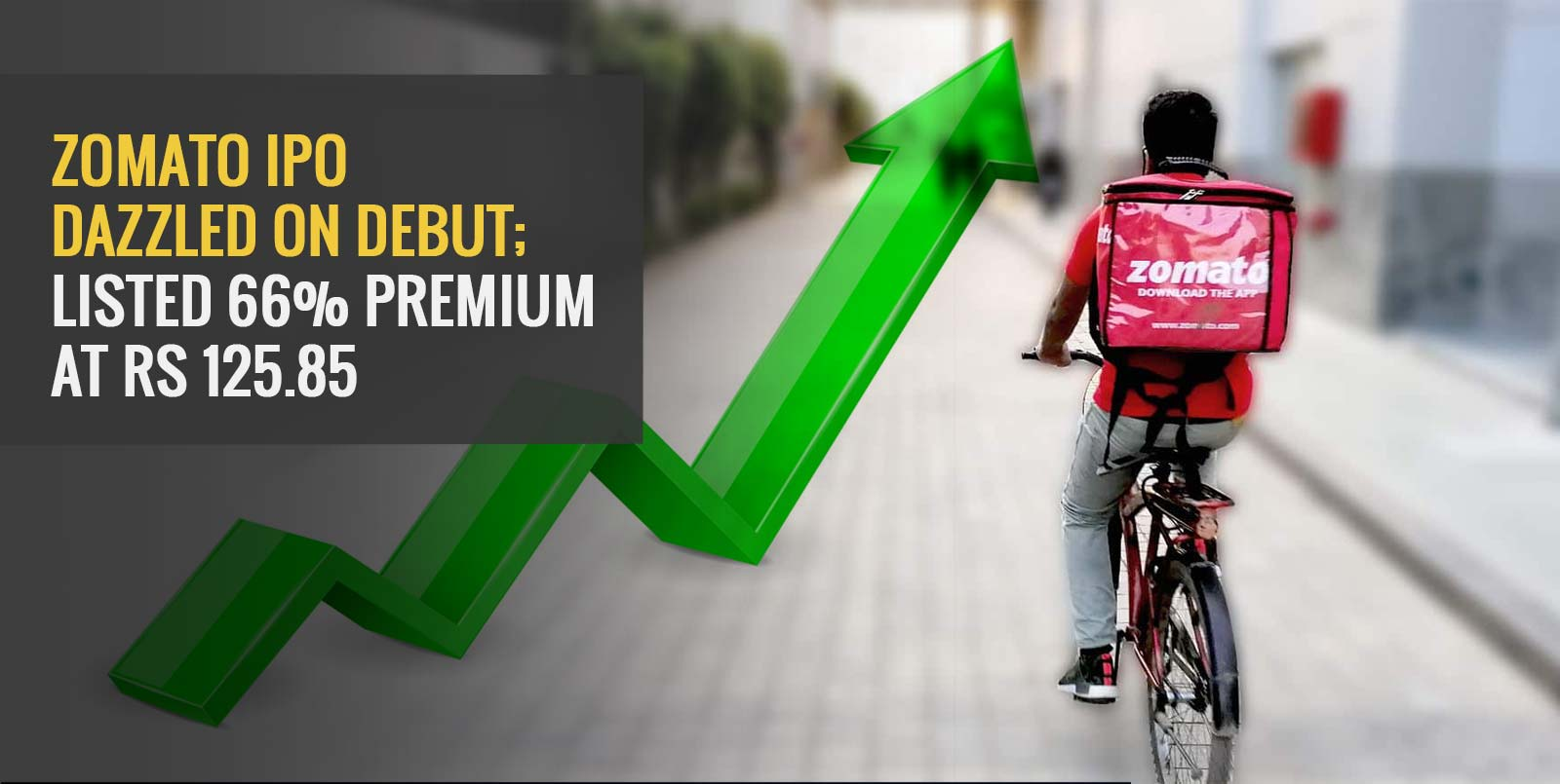 Zomato IPO Dazzled On Debut; Listed 66% Premium At Rs 125.85