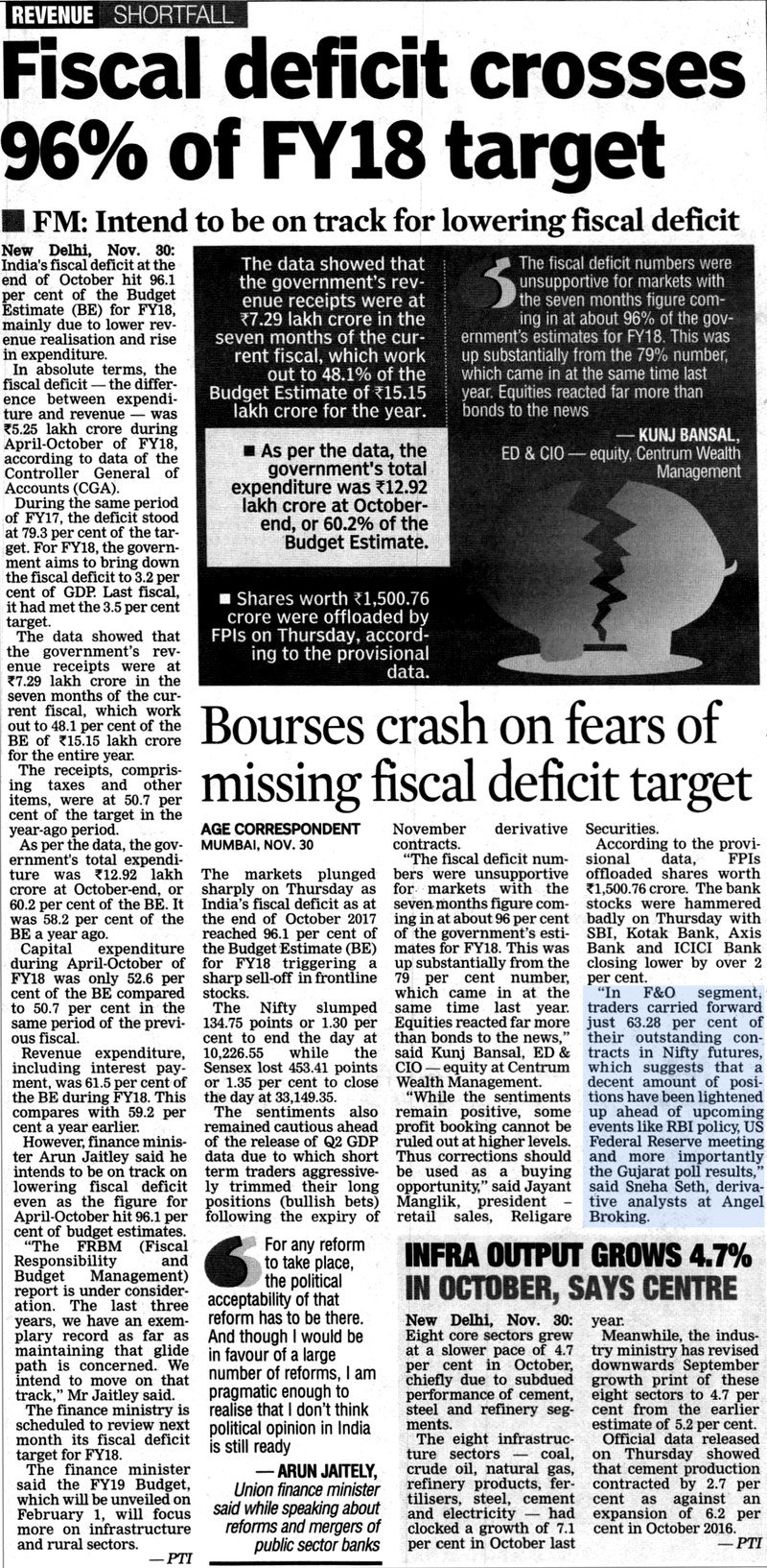 Bourses crash on fears of missing fiscal deficit target
