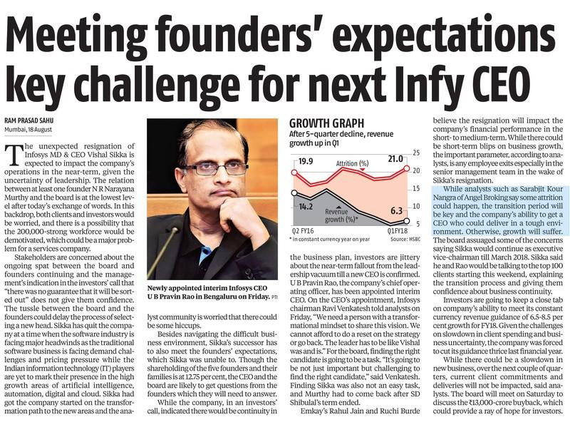 Meeting founders' expectations key  challenge for next Infy CEO