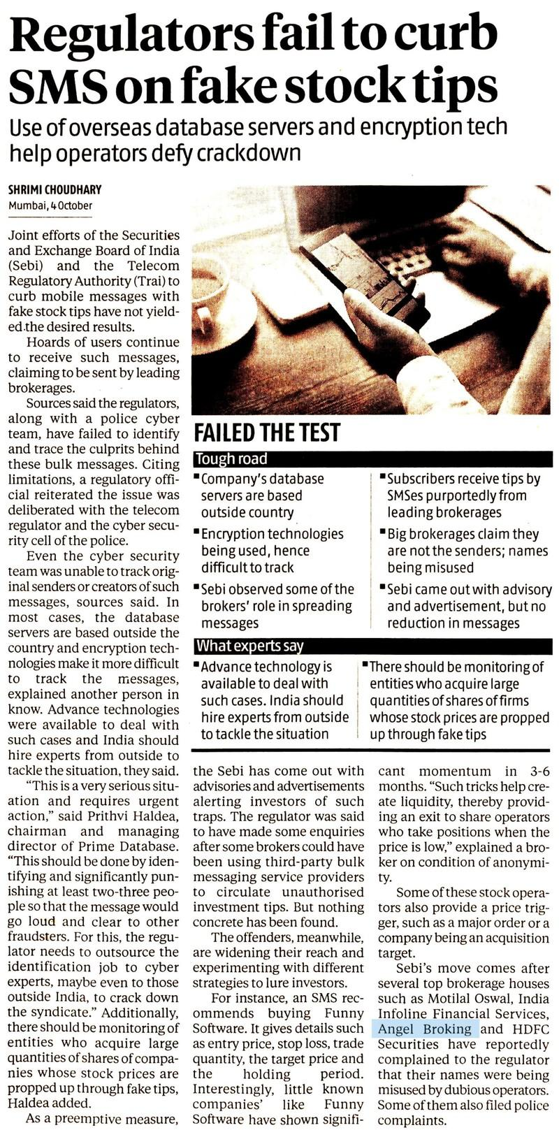 Regulators fail to curb SMS on fake stock tips