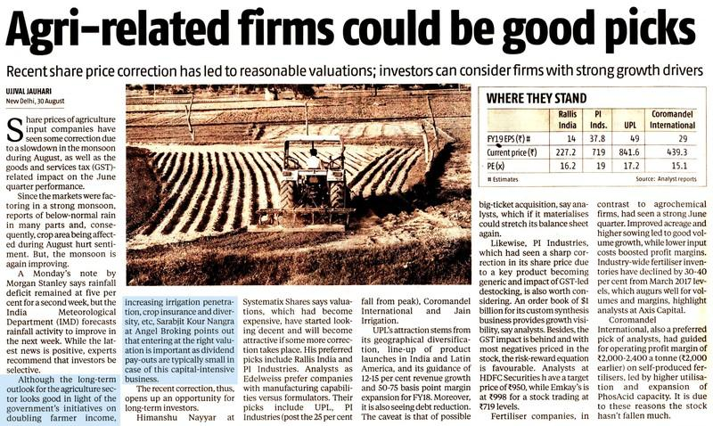 Agri-related firms could be good picks