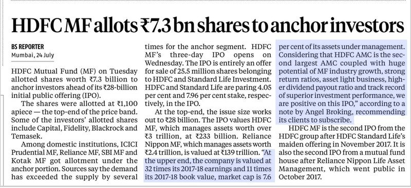 HDFC MF allots Rs 7.3 bn shares to anchor investors