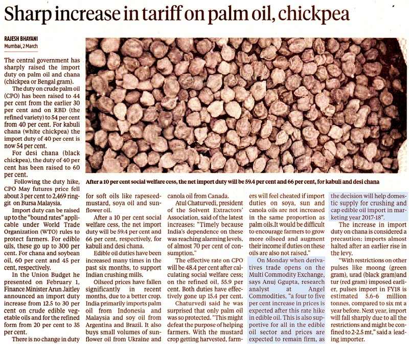Sharp increase in tariff on palm oil, chickpea