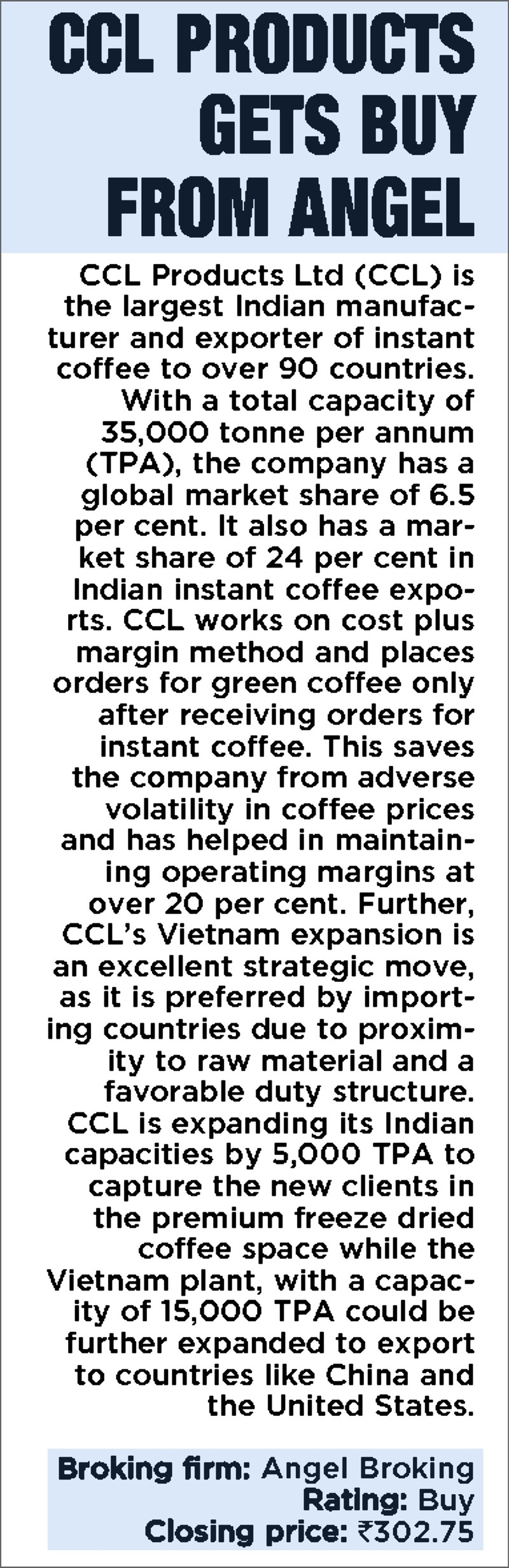 CCL Products gets Buy from Angel
