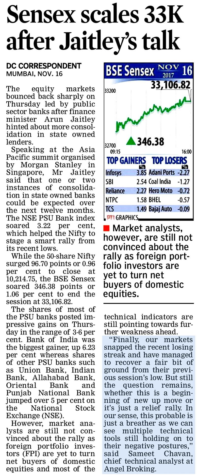 Sensex scales 33000 after Arun Jaitley's talk