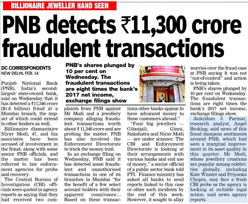 PNB detects Rs.11,300 crore fraudulent transactions