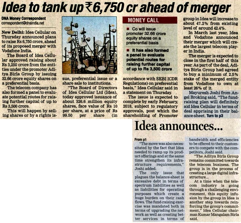 Idea to tank up Rs 6,750 cr ahead of merger