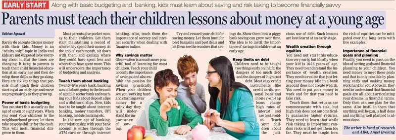 Parents must teach their children lessons about money at a young age