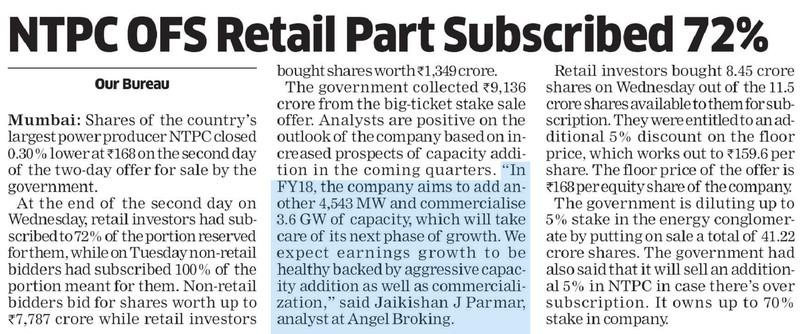 NTPC OFS Retail Part Subscribed 72%