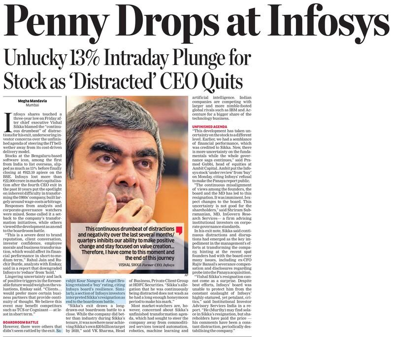 Penny Drops at Infosys