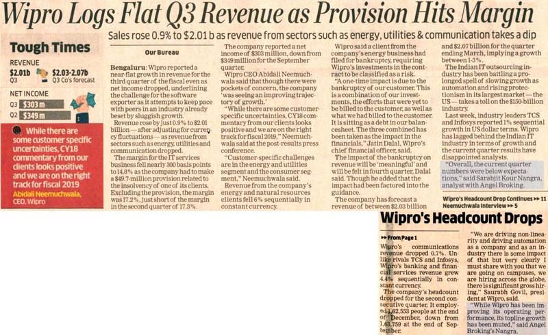 Wipro Logs Flat Q3 Revenue as Provision Hits Margin