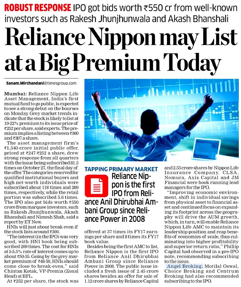 Reliance Nippon may list at a big premium today