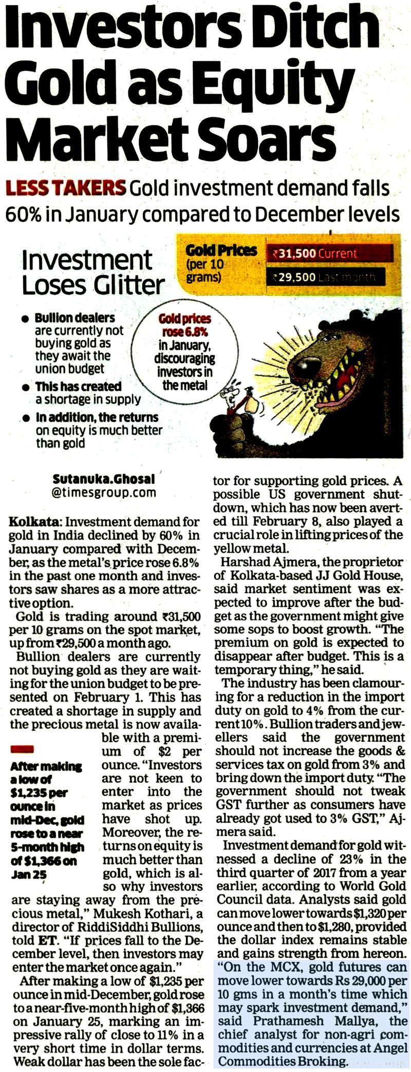 Investors Ditch Gold as Equity Market Soars