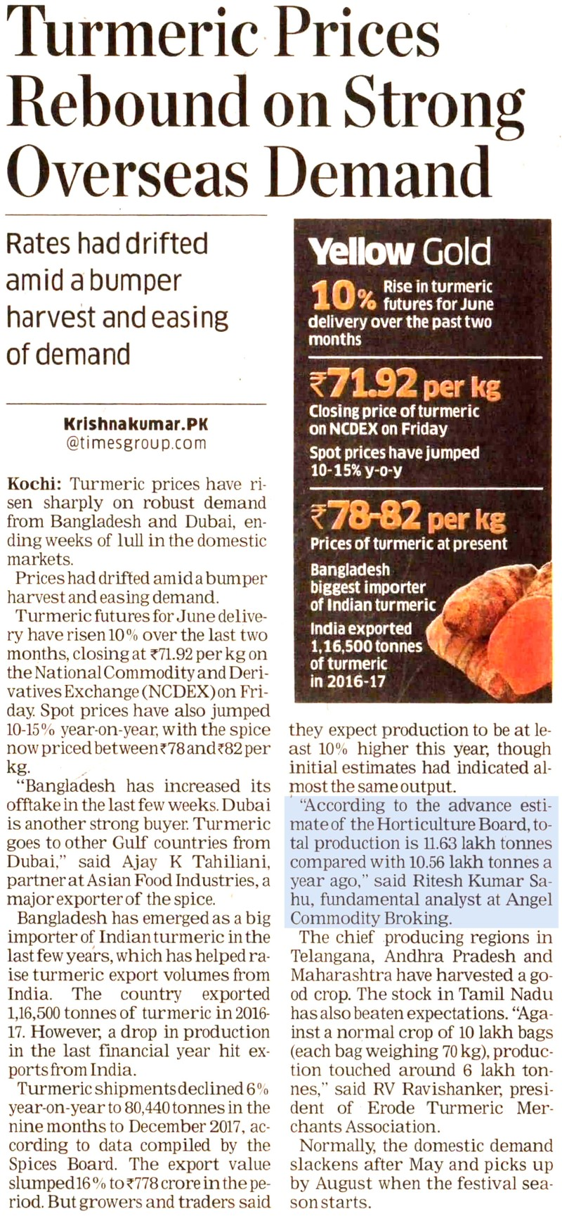 Turmeric Prices Rebound on Strong Overseas Demand