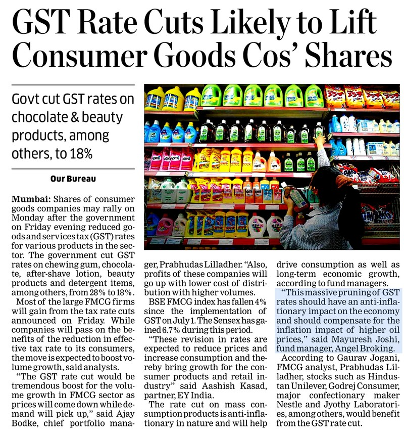 GST Rate Cuts Likely to Lift Consumer Goods Cos' Shares