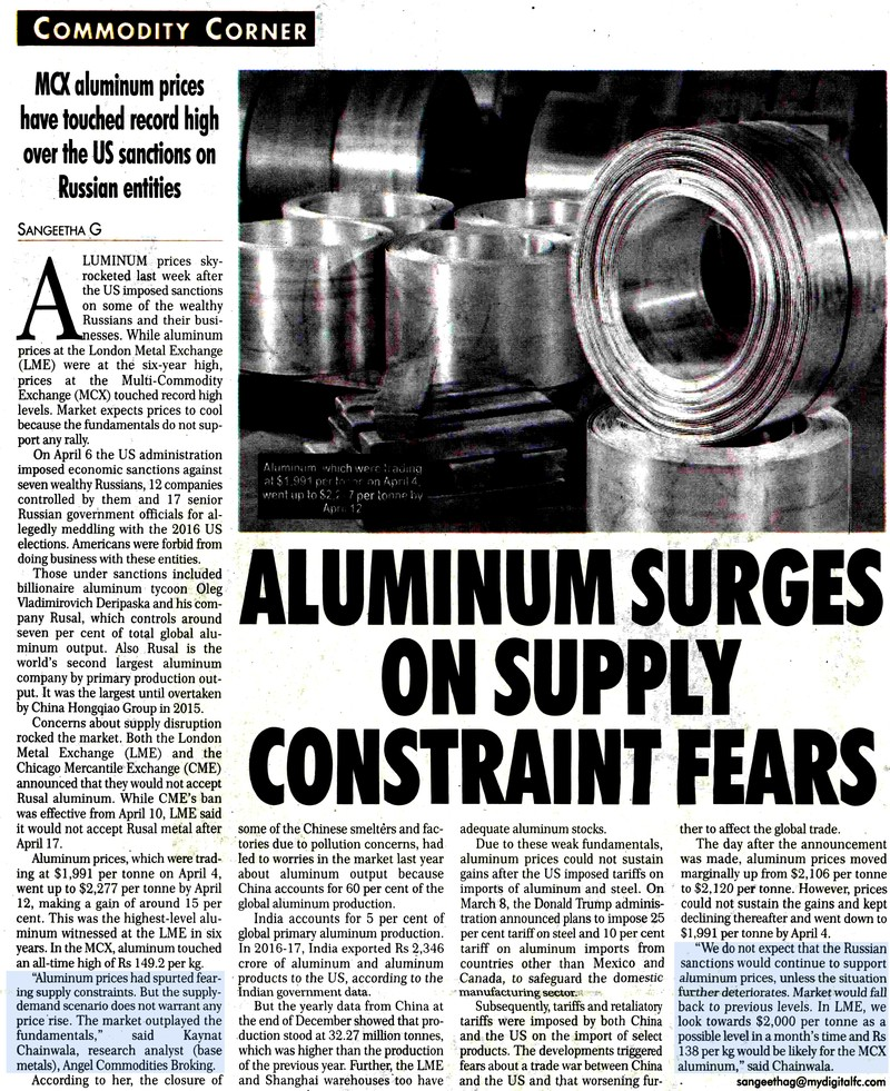 Aluminum Surges On Supply Constraint Fears