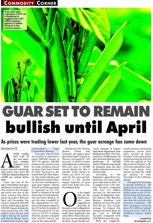 Guar seed to remain bullish until April