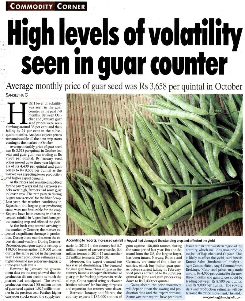High levels of volatility seen in guar counter