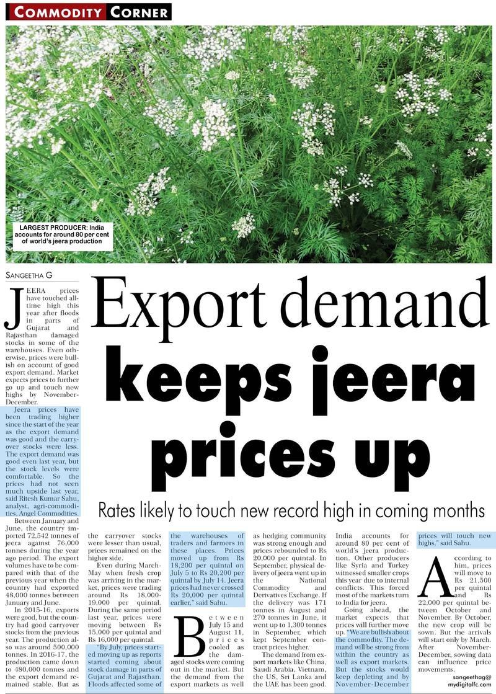 Export demand keeps jeera prices up