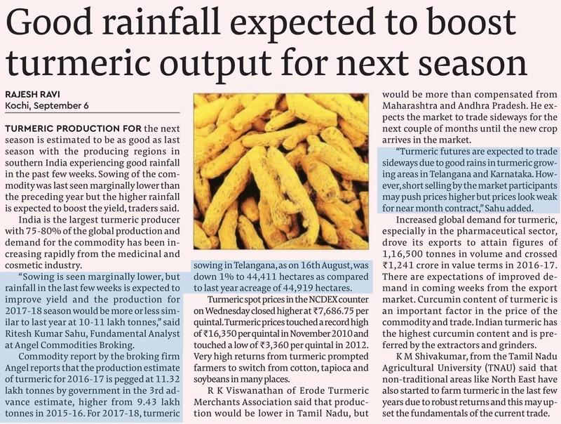 Good rainfall expected to boost turmeric output for next season