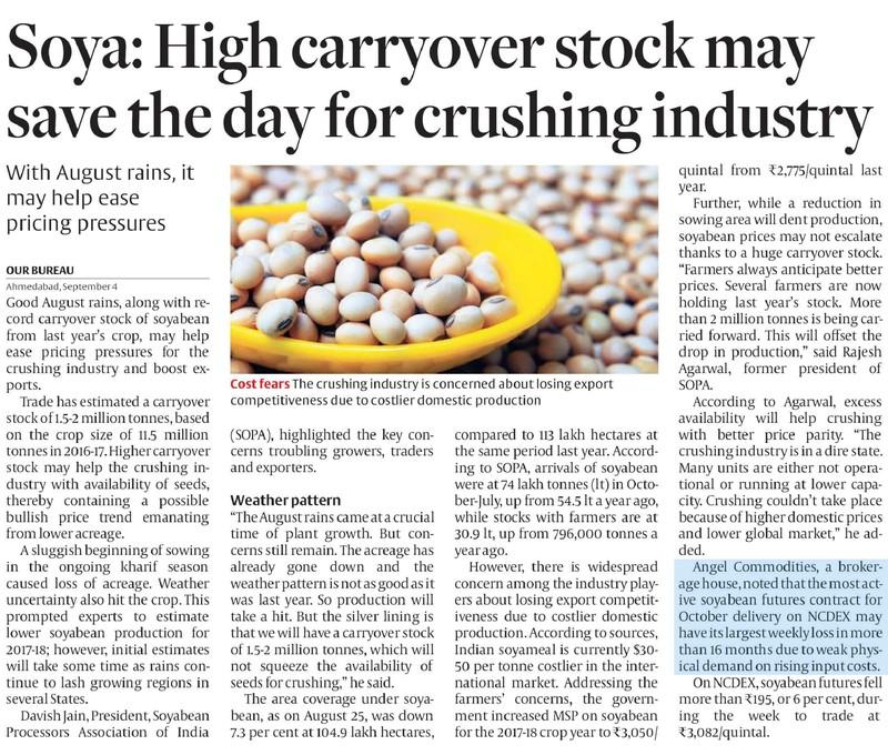 Soya: High carryover stock may save the day for crushing industry