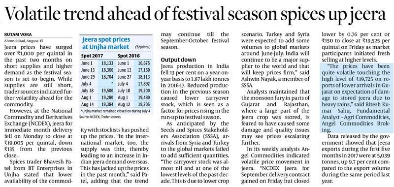 Volatile trend ahead of festival season spices up jeera