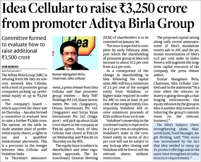 Idea Cellular to raise Rs 3,250 crore from promoter Aditya Birla Group