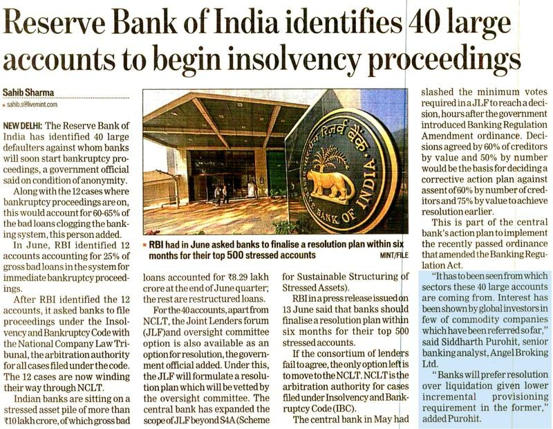 Reserve Bank of India identifies 40 large  accounts to begin insolvency proceedings