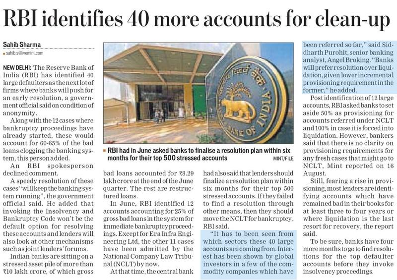 RBI identifies 40 more accounts for clean-up