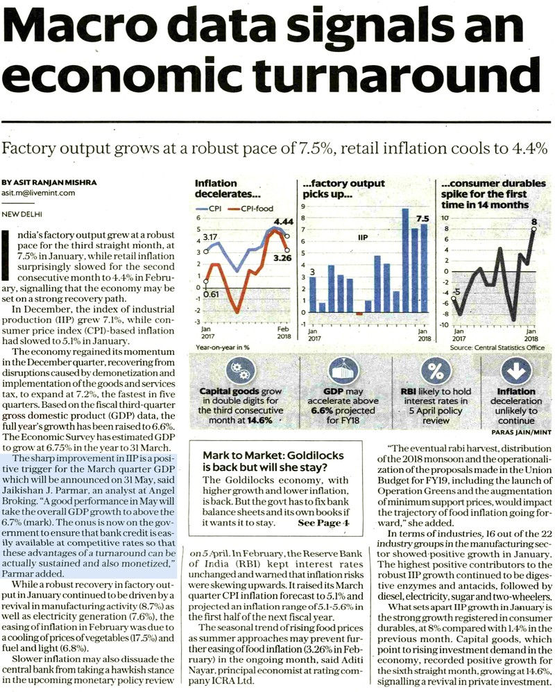 Factory output grows at a robust pace of 7.5%, retail inflation cools to 4.4%
