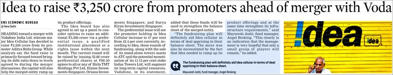 Idea to raise Rs,3,250 crore from promoters ahead of merger with Voda