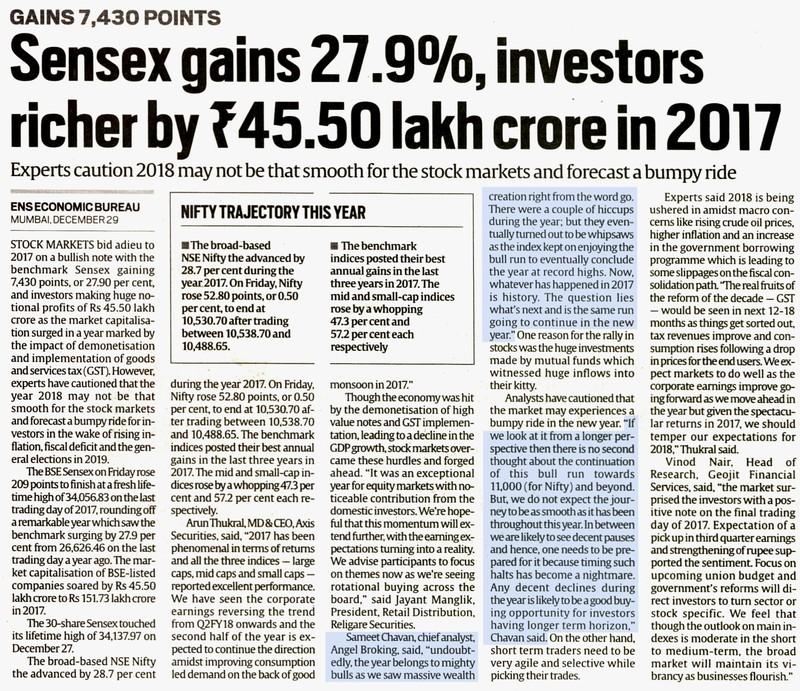 Sensex gains 27.9%, investors richer by 745.50 lakh crore in 2017