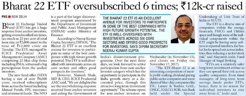 Bharat 22 ETF oversubscribed 6 times; INR 12k cr raised